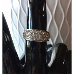 EXPRESS Inset Pavé Rhinestone Sterling Silver Ring